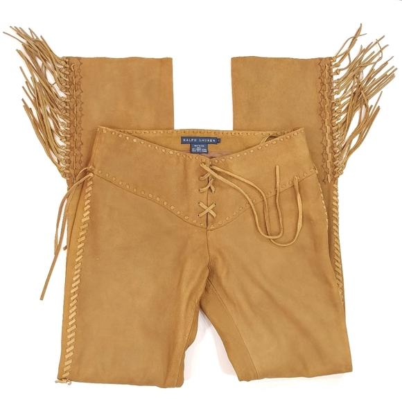 Ralph Lauren Women's Leather Fringe Lace Up Pants